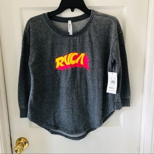 NWT RVCA grey crewneck graphic longsleeve top S